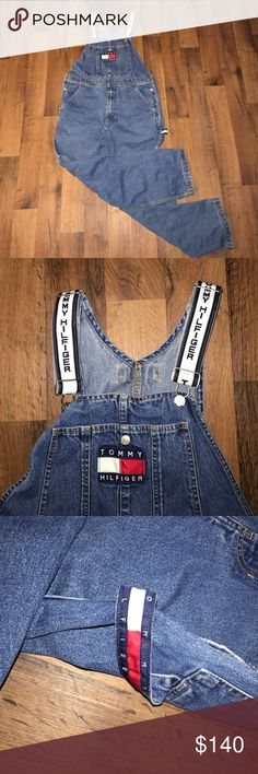 Small Vintage Tommy Hilfiger Big Patch Overalls 30 inch inseam. 19 inches lying flat side to side Tommy Hilfiger Jeans