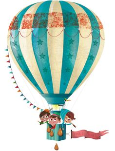 Beautiful textures and little characters. Paint and print Ballon Illustration, Graphic Illustration, Air Ballon, Hot Air Balloon, Cute Drawings, Illustrations Posters, Images, Wall Art, Photos
