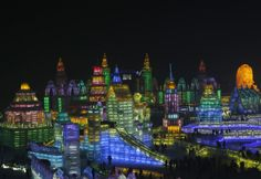 Ice sculptures at the Harbin Ice and Snow Sculpture Festival, China.