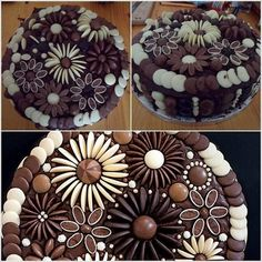 If you like baking cakes or cupcakes and wondering how to decorate them in an easy way, you can use chocolate buttons! These chocolate buttons make it easy for home bakers! You can make flowers, animals, and many other patterns. Chocolate Button Cake, Chocolate Buttons, Chocolate Flowers, Chocolate Cupcakes, Chocolate Sweets, Food Cakes, Cupcake Cakes, Torta Candy, Bolo Diy