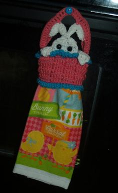 Peeking Easter Bunny in Basket Crochet Towel Topper & by vjf25