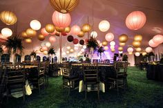 wedding tent with pom pom and lanterns - Google Search