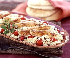 This delicious chicken and orzo recipe is not only yummy, but it's super easy and quick to throw together for nights when you're crunched for dinner prep time. | Dinner in 30 Minutes or Less