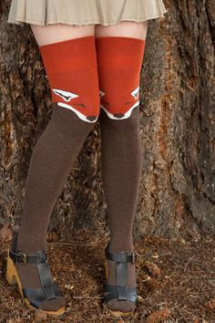 Fox Knee Sock -  These adorable woodland socks make great knee highs on curvier legs, and OTKs on smaller legs!