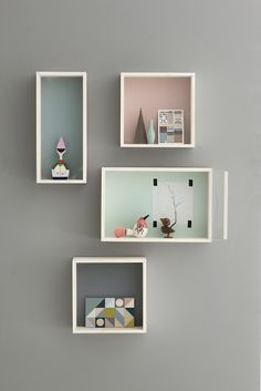 I love the idea of these shelves. Along with the colours of them and the wall colour