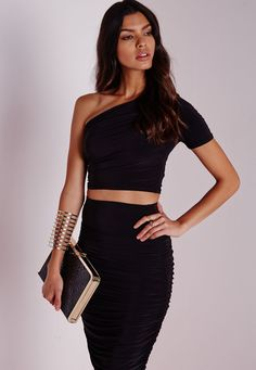 Missguided - Slinky One Shoulder Crop Top Black