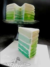 Would be awesome in shades of red - Green Ombre cake #ombre #green #cake #wedding