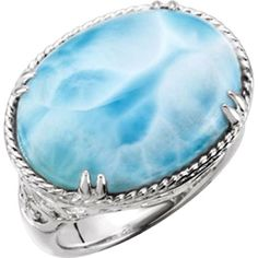 Genuine Larimar Ring in Sterling Silver - Size 7 ** You can get more details by clicking on the image.