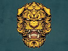 Asian Tattoos, Dog Tattoos, Body Art Tattoos, Tattoos Skull, Foo Dog Tattoo Design, Japan Tattoo Design, Illustration Vector, Vector Art, Pine Tattoo