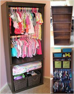 Re-imagine An Old Bookcase Into a Baby Nursery Closet #closet_diy_ideas