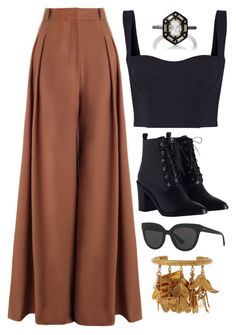 Black, Brown & Gold by carolineas on Polyvore featuring polyvore, fashion, style, Dion Lee, Zimmermann, Cathy Waterman, Chloé, Christian Dior and clothing