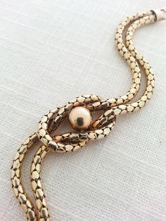 Antique Art Deco 1930s 12K Gold Filled Tubular Mesh Snake Chain Lover's Knot Bracelet - S.O. Bigney