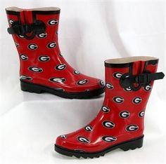 University of Georgia Bulldogs (UGA) 9-Inch Tall Red Rubber Waterproof Rain Boots