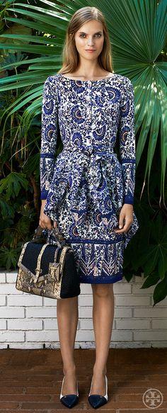 Wear a statement print in a crepe jersey dress — effortless polish   Tory Burch Resort 2014