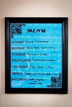 DIY Dry Erase Menu Board made from an old picture. I want to  make this, except use scrabook paper on the inside instead of lace.