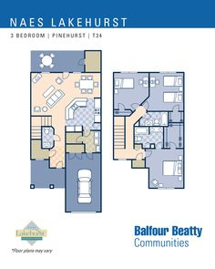 JB Lakehurst – Pinehurst Estates: 3 bedroom townhouse floor plan (T34).