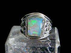 Blue, Green, Pink...Genuine FIRE OPAL Slice Gemstone, 925 Solid Sterling Silver…