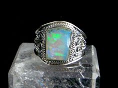 Blue, Green, Pink...Genuine FIRE OPAL Slice Gemstone, 925 Solid Sterling Silver…