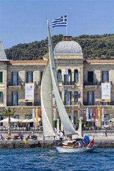 """Sailing at Spetses, in front of the majestic """"Poseidonion Grand Hotel"""""""