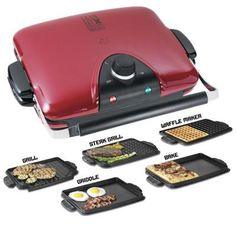 George Foreman Next Grilleration Electric Nonstick Grill with 5 Removable Plates, Red Specialty Appliances, Small Appliances, Grill Brands, George Foreman Grill, How To Make Waffles, Indoor Grill, Waffle Iron, Kitchen Gadgets, Kitchen Stuff