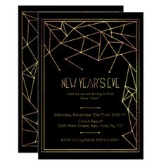 New Year's Eve, Modern Gold Invitation
