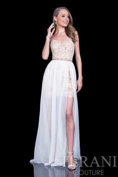 Strapless lace prom gown. This prom dress comes with a detachable chiffon skirt.
