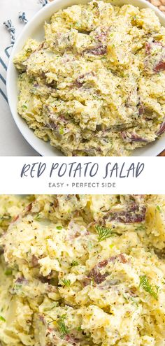 The perfect side dish! It's absolutely loaded with flavor, and the potatoes are tender and creamy. Made with a unique combination of ingredients. Best Vegetarian Recipes, Delicious Breakfast Recipes, Whole Food Recipes, Summer Side Dishes, Side Dishes Easy, Easy Salads, Healthy Salad Recipes, Creamy Potato Salad, Food For A Crowd