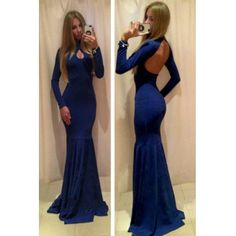 Sexy Turtle Neck Long Sleeves Backless Blue Polyester Mermaid Floor Length Dress
