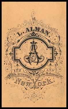 Alman / Alman & Company - a Vintage logo that can serve as inspiration but needs some pairing down and updating. Very elaborate and pretty Vintage Monogram, Vintage Typography, Typography Letters, Hand Lettering, Retro Graphic Design, Graphic Design Typography, Vintage Logo Design, Vintage Graphic, Lettering Design