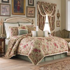 The Cottage Rose Bedding Collection is an antique look floral print that will bring a classic look to any room. The comforter and sham with an ivory pleated flange feature an all-over floral print that reverses to a solid. They are both trimmed with a floral print covered cord.