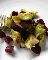 Roasted-Beet-and-Avocado Salad-I put this atop a bed of butter leaf lettuce-flavor perfection. Avocado Salad Recipes, Beet Recipes, Wine Recipes, Vegetarian Recipes, Cooking Recipes, Healthy Recipes, Healthy Food, Avocado Dessert, Healthy Eating