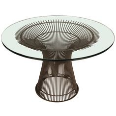 Warren Platner Glass Top Dining Table | From a unique collection of antique and modern dining room tables at https://www.1stdibs.com/furniture/tables/dining-room-tables/