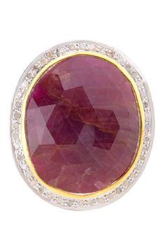 Rivka Friedman Red Sapphire & White Diamond Ring on HauteLook