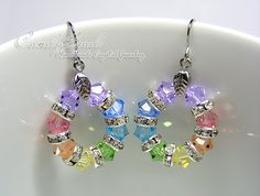 Swarovski Crystal Rondelle Earrings Sweet Rainbow Swarovski Crystal Earrings via Etsy. Swarovski Crystal Rondelle Earrings Sweet Rainbow Swarovski Crystal Earrings via Etsy. Christmas Earrings, Christmas Jewelry, Diy Schmuck, Schmuck Design, Swarovski Crystal Earrings, Sterling Silver Earrings, Homemade Jewelry, Bead Earrings, Pendant Necklace