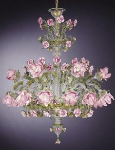 Green, gold and pink Murano rose chandelier - How pretty for a drawing room or ladies library Murano Chandelier, Flower Chandelier, Italian Chandelier, Italian Lighting, Antique Chandelier, Chandelier Lighting, Purple Chandelier, Lustre Antique, Lustre Vintage
