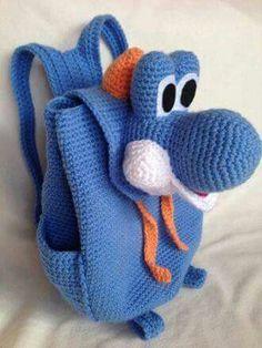 Crochet Teddy, Crochet Dolls, Crochet Shoes, Crochet Purses, Mochila Crochet, Animal Backpacks, Crochet Backpack, Crochet Disney, Crochet Elephant