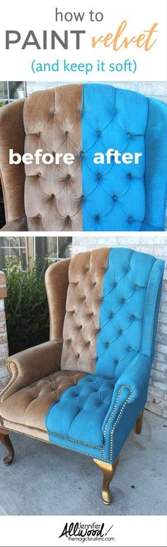 Here's how to paint crushed velvet and keep it soft! Give your upholstery furniture a facelift with a coat of paint! How to paint furniture and howt to paint fabric in this tutorial using FAB! More painting advice and DIY projects at theMagicBrushinc.com #diy #diyprojects #repurpose #upcycle #furniture #diyhomedecor