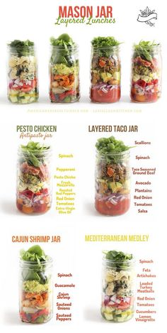These mason jar layered lunches are not only pretty to look at, they actually wo. These mason jar layered lunches are not only pretty to look at, they actually wo… – San Antonio Mason Jar Lunch, Mason Jar Meals, Meals In A Jar, Canning Jars, Mason Jar Food, Mason Jar Recipes, Food Jar, Salad In Mason Jar, Healthy Snacks