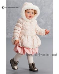 Baby girls pink designer coats, jackets by Kate Mack. Winter collection 2015 Kate Mack puffball girls coat. Fur trimmed hooded jacket 500 OPA by Kate Mack Blackpool