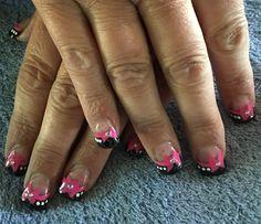 Black and bows nail art!