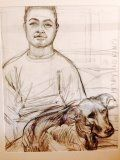 "Henry and his dog Kimo Charcoal on paper. 20""x16"". Owned by Nancy's green card husband and pal, Thomas Braack"