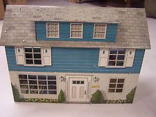 Marx 1950's tin litho doll house with furniture