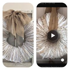 Last Wednesday, hometalk took a live tour of Deb Foglia's modern farmhouse. Everyone was asking about the wreath in her family room. Deb said that she had purch… Mesh Wreath Tutorial, Diy Wreath, Mesh Wreaths, Burlap Wreaths, Wreath Crafts, Tree Crafts, Diy Crafts, Mini Cactus, Light Up Canvas