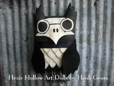 Primitive Folk Art Skeleton Owl Doll Pillow Door Hanger on Etsy, $24.99