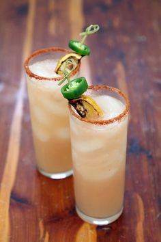 Spicy Grapefruit and Tequila Cocktail...this reminds me of a firecracker~bourbon, grapefruit juice, and jalapeno syrup!