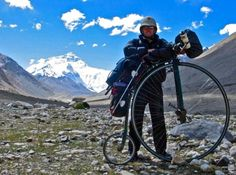 Joff Summerfield talks about cycling around the world on his self built penny farthing.