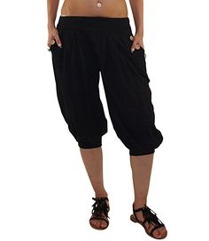 9e4d4c09dd0848 Kurze Damen Sommerhose Haremshose mit elastischem Bund Pluderhose  Strandhose Pumphose Aladinhose Yogahose Hose Schwarz DK015 (