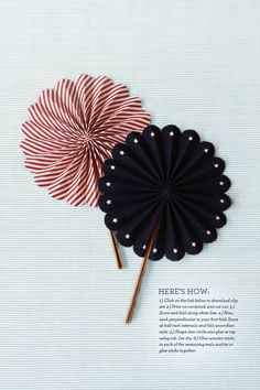 This fan doubles over patterned paper for decoration on both sides. Key.