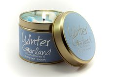 Winter Garland; A Cool Floral Mixture. Lovely crisp winter packaging. Cool blue with Frosty Silver graphics. The Scent is clean light and cool. Burn Time 35 hours. Dimensions 7.7 x 6.6cm