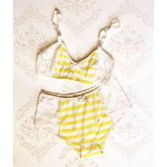 Lingerie Set 'Buttercup' Yellow stripes with White Lace Handmade to Order sur Etsy, $85.46 CAD